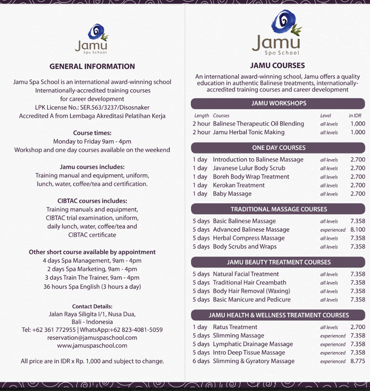 バリ島エステスクールコース一覧2019ジャムースパスクール1P目