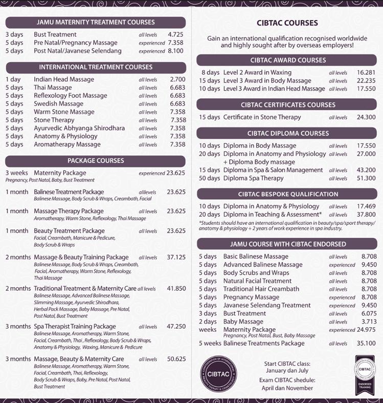 バリ島エステスクールコース一覧2019ジャムースパスクール2P目